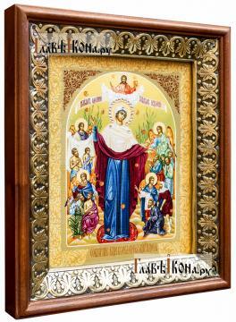 Всех скорбящих радость (с грошиками), икона на холсте в киоте-рамке - вид сбоку