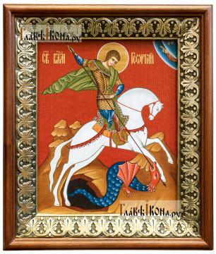 Георгий Победоносец, икона на холсте в киоте-рамке