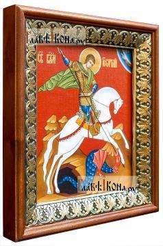 Георгий Победоносец, икона на холсте в киоте-рамке - вид сбоку