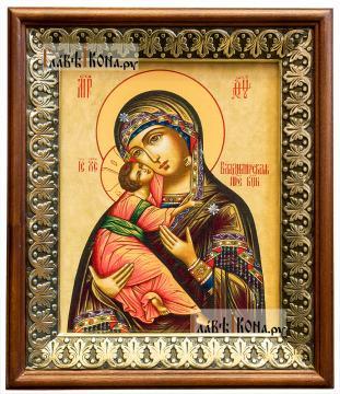 Владимирская Божия Матерь, икона на холсте в киоте-рамке