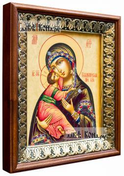 Владимирская Божия Матерь, икона на холсте в киоте-рамке - вид сбоку