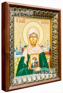 Матрона Московская, икона на холсте в киоте-рамке - вид сбоку