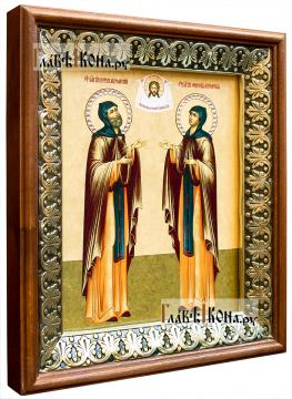 Петр и Феврония, икона на холсте в киоте-рамке - вид сбоку