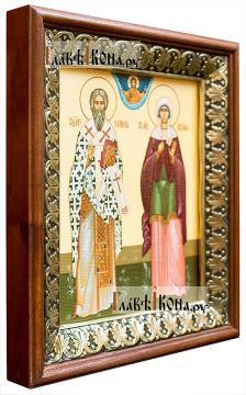 Киприан и Устиния, икона на холсте в киоте-рамке - вид сбоку
