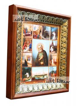 Серафим Саровский, икона на холсте в киоте-рамке - вид сбоку