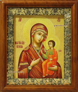 Иверская Божия Матерь, икона в деревянном киоте