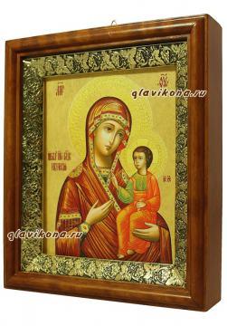 Иверская Божия Матерь, икона в деревянном киоте - вид сбоку