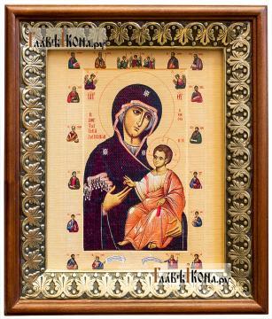 Иверская Божия Матерь (с апостолами), икона на холсте в киоте-рамке