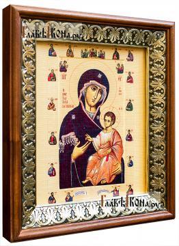 Иверская Божия Матерь (с апостолами), икона на холсте в киоте-рамке - вид сбоку