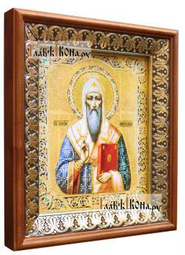 Алексий, митрополит Московский, икона на холсте в киоте-рамке - вид сбоку