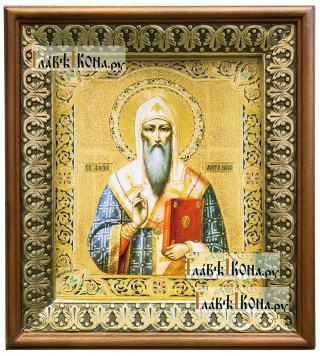 Алексий, митрополит Московский, икона на холсте в киоте-рамке