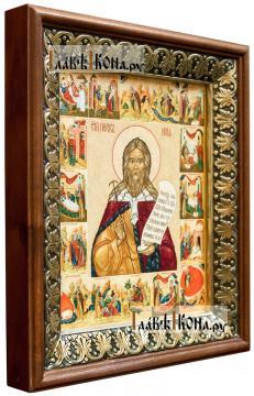 Илия Пророк (с житием), икона на холсте в киоте-рамке - вид сбоку