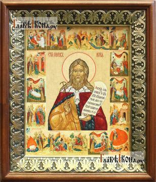 Илия Пророк (с житием), икона на холсте в киоте-рамке