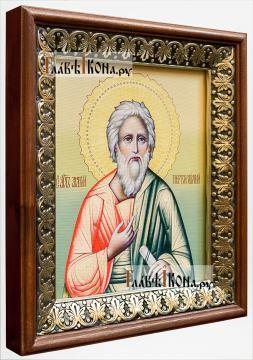 Андрей Первозванный, икона на холсте в киоте-рамке - вид сбоку