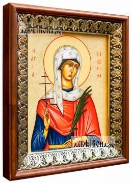 Валентина Кесарийская, икона на холсте в киоте-рамке - вид сбоку