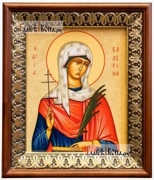 Валентина Кесарийская, икона на холсте в киоте-рамке