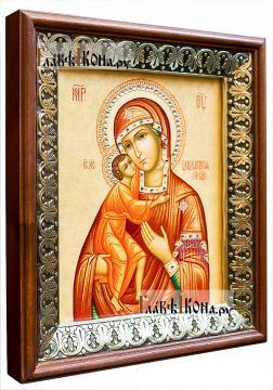 Феодоровская Божия Матерь, икона на холсте в киоте-рамке - вид сбоку