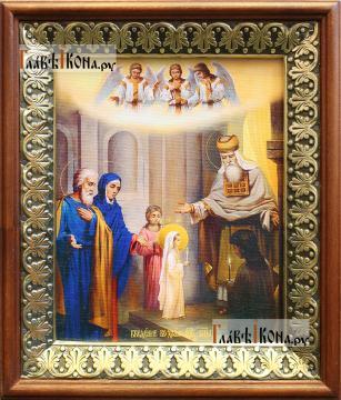 Введение во храм, икона на холсте в киоте-рамке