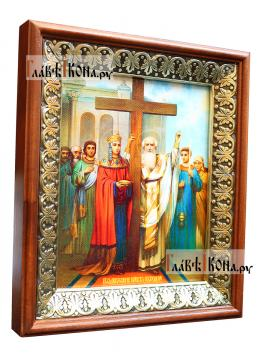 Крещение Руси, икона на холсте в киоте-рамке - вид сбоку