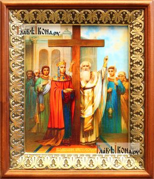 Крещение Руси, икона на холсте в киоте-рамке