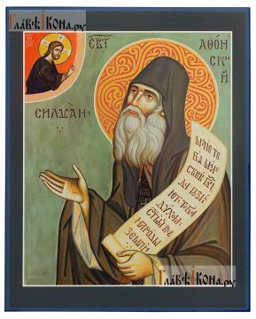 Силуан Афонский (с десницей), печатная икона на доске
