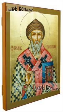 Икона рукописная святого Спиридона, артикул 579 - вид сбоку