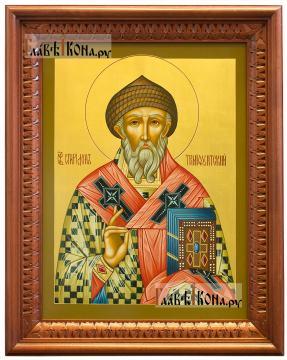 """Икона Спиридона Тримифунтского, размер 30х40 см с золотым фоном, цвет киота - """"вишня"""""""