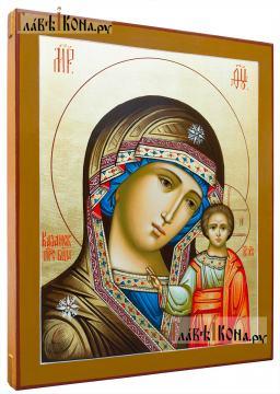 Рукописная икоан Казанской Божией Матери: липовая доска, золочение, артикул 204 - вид сбоку