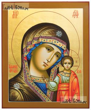 Рукописная икоан Казанской Божией Матери: липовая доска, золочение, артикул 204