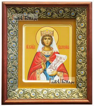 Рукописная икона святой Екатерины, артикул 6267 - вид в киоте