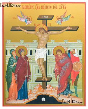 Распятие Христа, печтаная икона на доске - артикул 90364