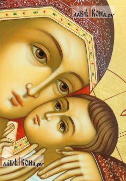 Рукописная икона Корсунской Божией Матери, артикул 276 - лики в деталях