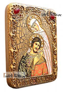 Подарочная икона Петра и Февронии с поясным изображением - вид сбоку