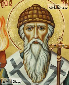 Святитель Спиридон Тримифунтский, рукописная икона в живописном стиле - детали образа