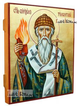 Святитель Спиридон Тримифунтский, рукописная икона в живописном стиле - вид сбоку