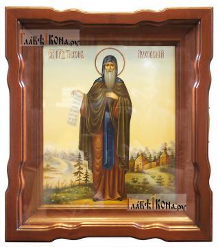 Святой Тихон Луховский, писаная икона артикул 6243 - вид в киоте