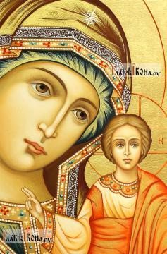 Казанская Божия Матерь, рукописная икона, артикул 5348 - детали Образа