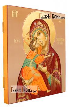 Образ Владимирской Божией Матери (коричневый фон) - вид сбоку