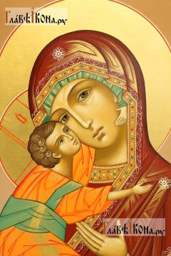 Образ Владимирской Божией Матери (коричневый фон) - детали Образа