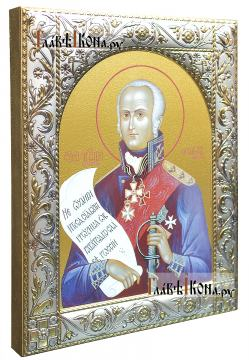 Феодор Ушаков, икона в ризе классической - вид сбоку