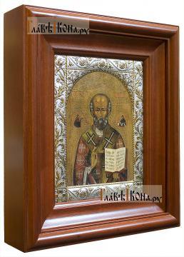 Николай Чудотворец (копия старинной), икона в ризе классической - вид в киоте сбоку