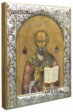 Николай Чудотворец (копия старинной), икона в ризе классической - вид сбоку
