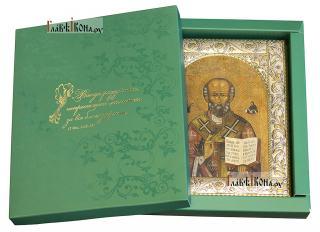Николай Чудотворец (копия старинной), икона в ризе классической - вид с упаковкой