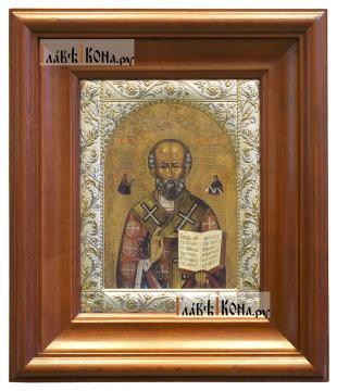 Николай Чудотворец (копия старинной), икона в ризе классической - вид в киоте
