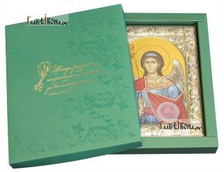 Михаил архангел, икона в ризе классической - вид с упаковкой