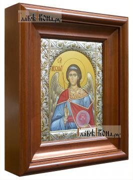 Михаил архангел, икона в ризе классической - вид в киоте сбоку