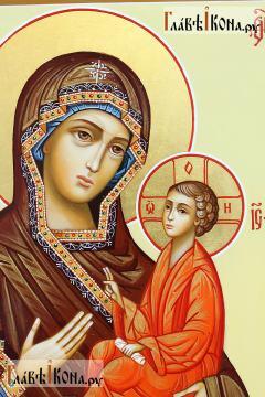 Тихвинска икона Божией Матери, писаная икона, артикул 216 - детали