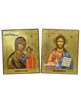 Пара икон для венчания со Спасиетелм и Казанской, артикул 303