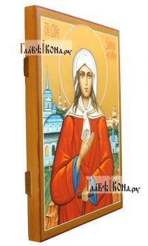 Икона Блаженной Ксении Петербургской с пейзажем - вид сбоку