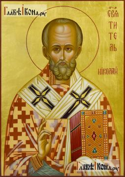 Писаная икона святителя Николая (без митры), с золочением фона